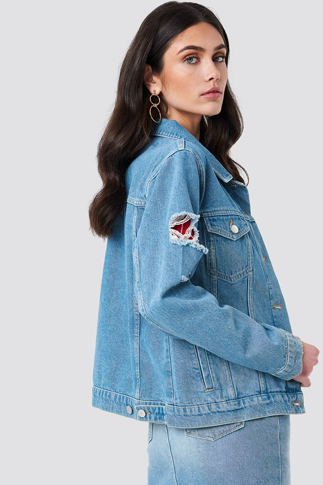 Ripped Sleeve Denim Jacket Light Blue