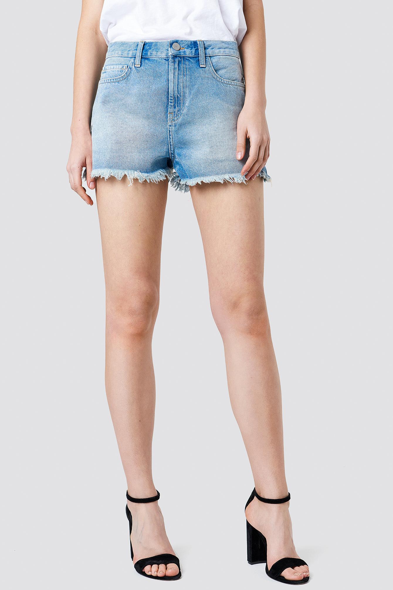 High Waist Ripped Denim Shorts NA-KD.COM