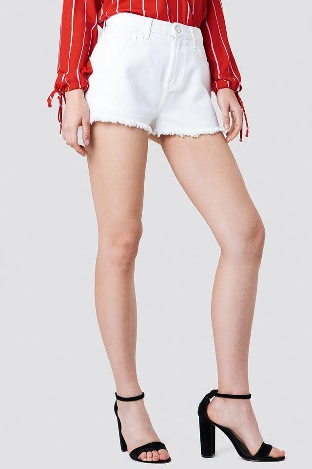 High Waist Ripped Denim Shorts White