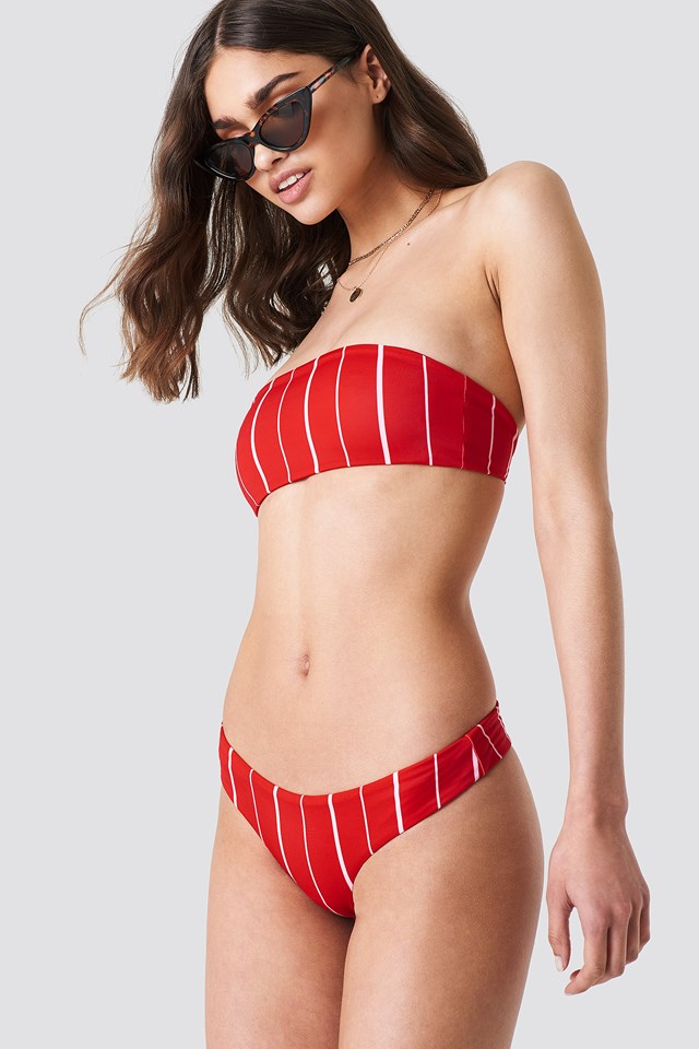 KS Bandeau Bikini Top Red Stripe