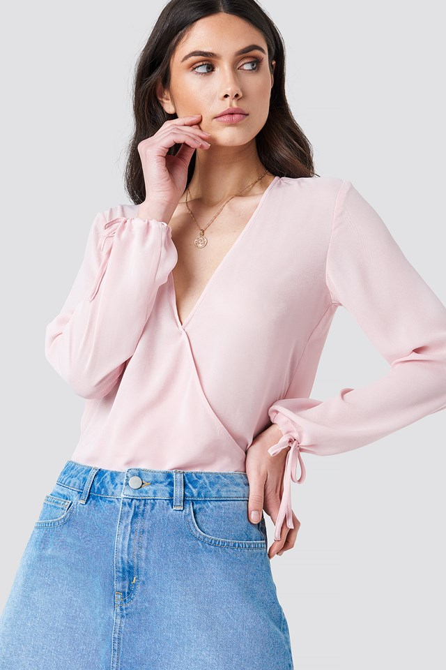 Overlapped Tied Sleeve Blouse Light Pink