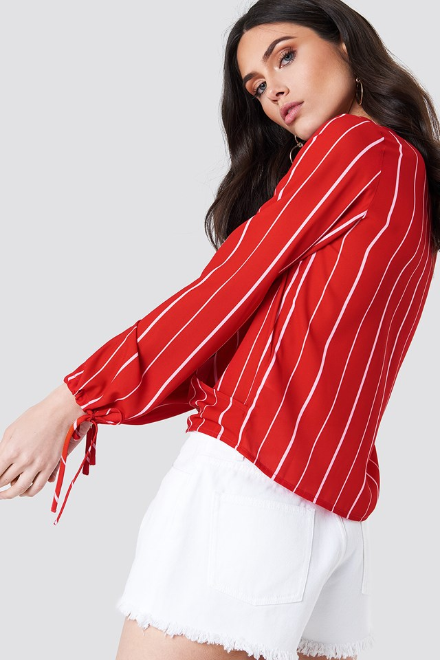 Overlapped Tied Sleeve Blouse Red Stripe