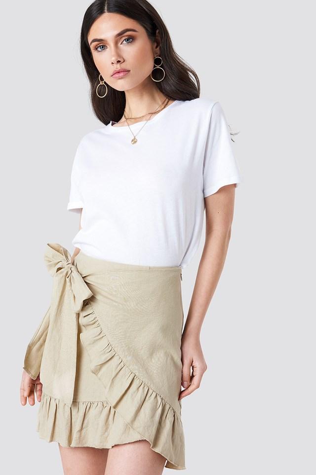 Side Knot Frill Skirt Beige