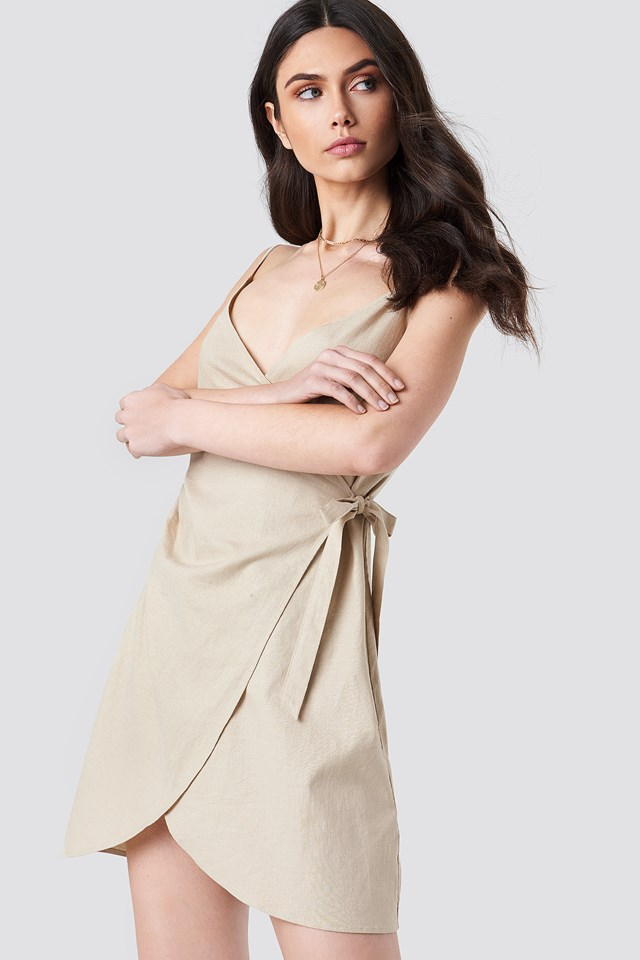 Side Knot Slip Dress Beige