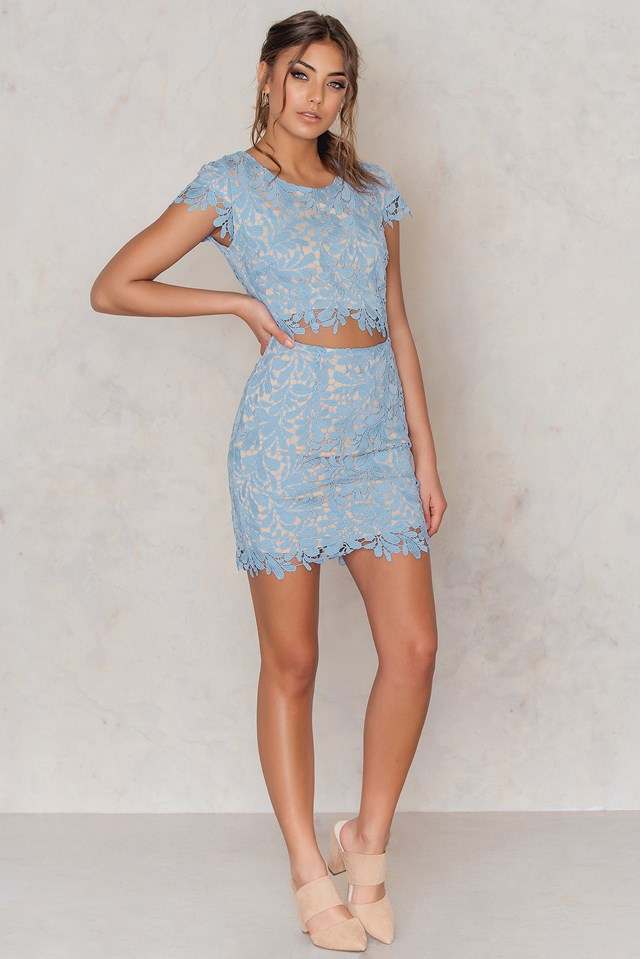 Lace Bailey Bodycon Dress Ice Blue