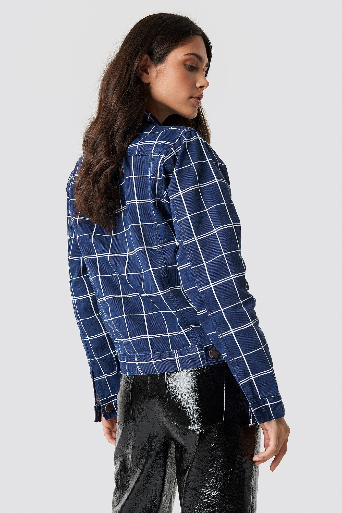 Denim Checkered Jacket NA-KD.COM