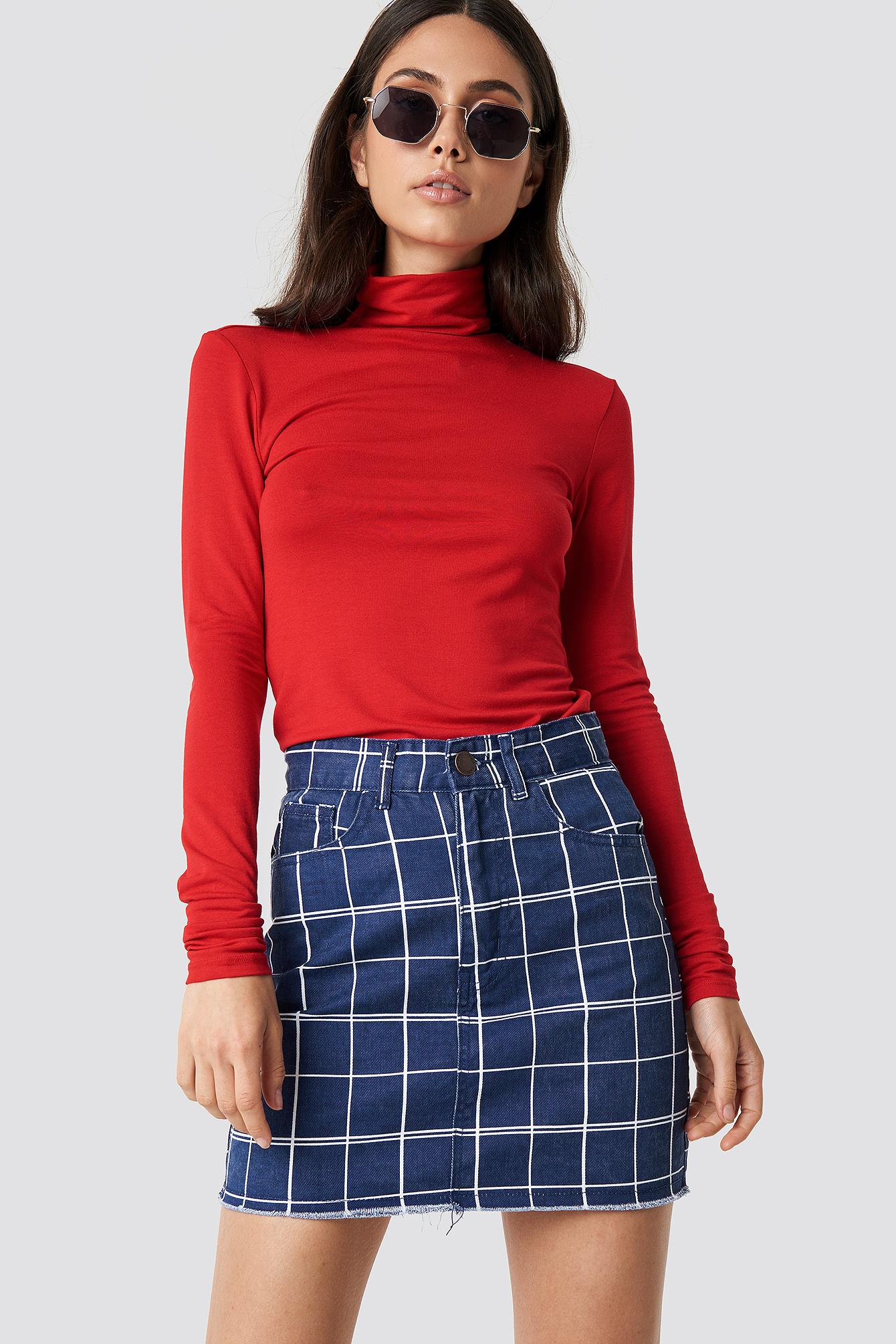 lasula -  Denim Raw Hem Checkered Skirt - Blue
