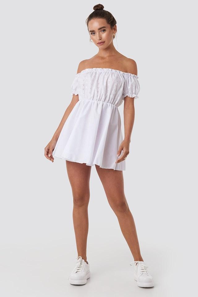 Bardot Broderie Anglaise Skater Dress White