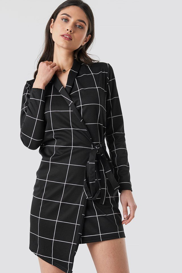 Check Wrap Blazer Dress Black
