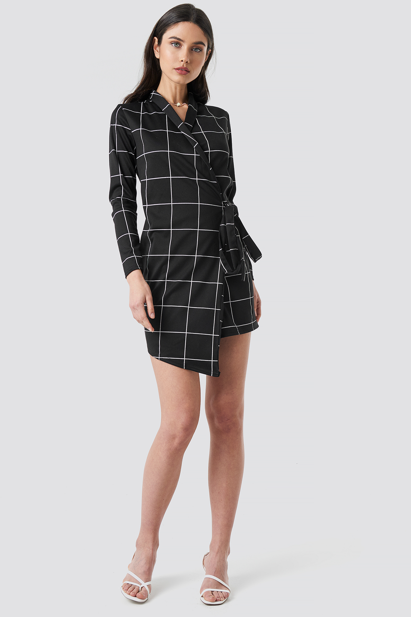 Check Wrap Blazer Dress NA-KD.COM
