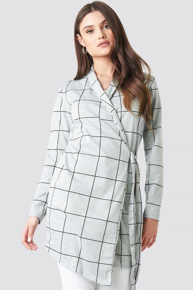 Chack Wrap Blazer Dress Grey