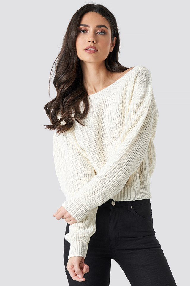 Knitted Slash Neck Jumper Cream