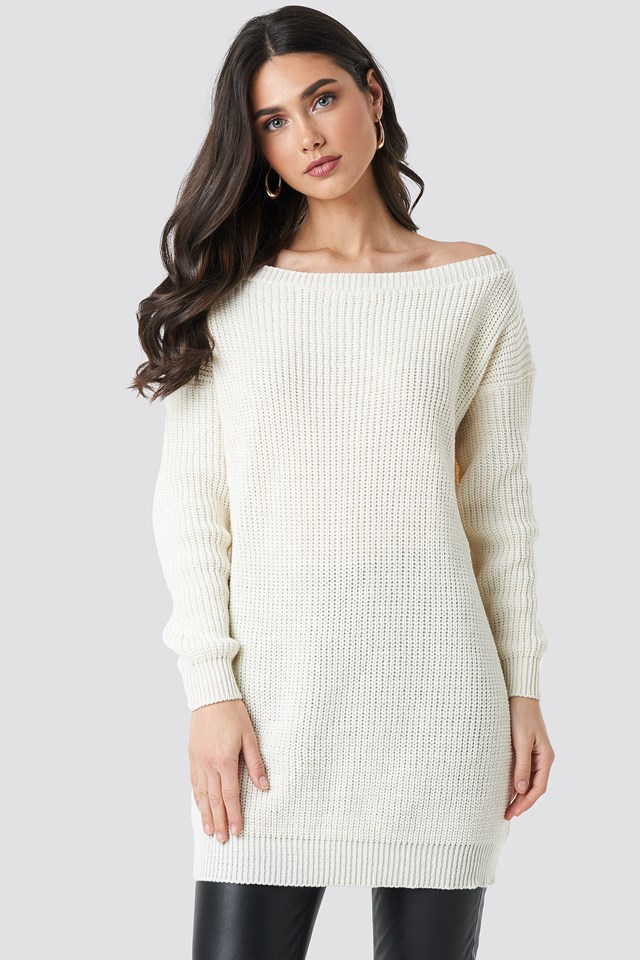 Knitted Slash Neck Jumper Dress Cream