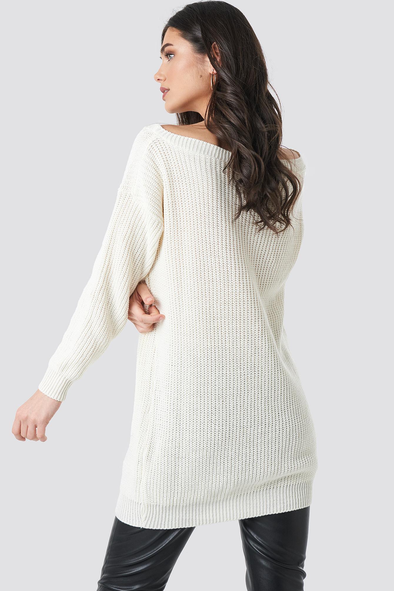 Knitted Slash Neck Jumper Dress NA-KD.COM