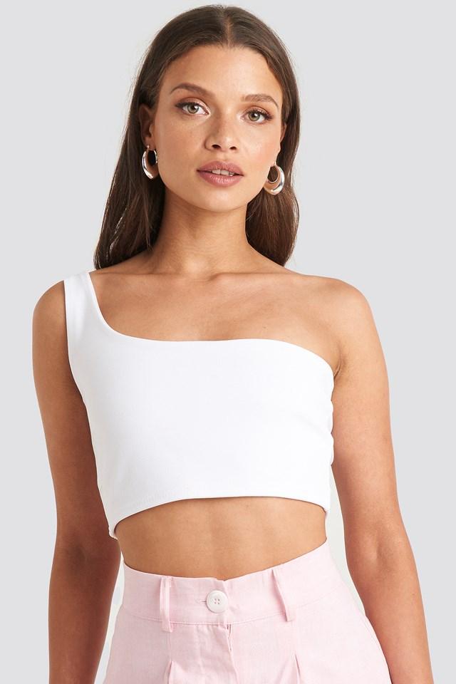 One Shoulder Crop Top White