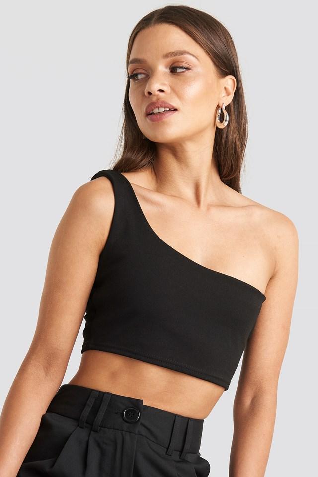 One Shoulder Crop Top Black