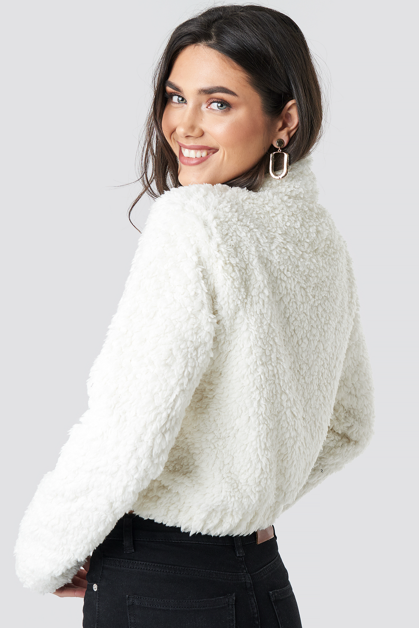 Teddy Faux Fur Zip Front Sweater NA-KD.COM