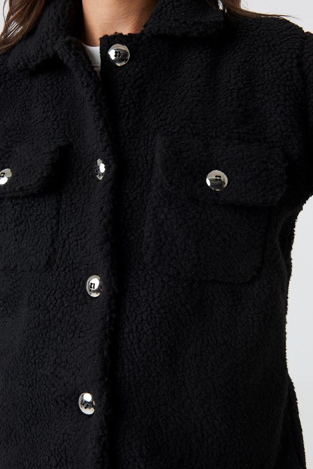 Teddy Short Jacket Black