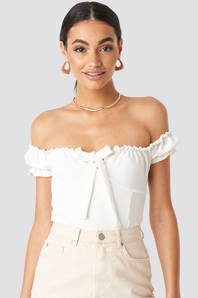 White Frill Bardot Bodysuit White