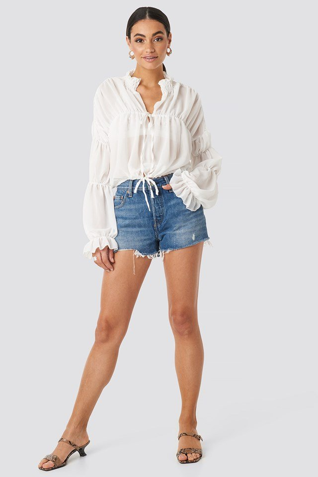 White Ruched Long Sleeve Tie Front Top White