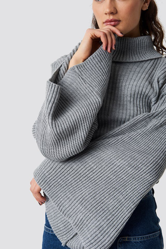 Wide Sleeve Roll-Neck Jumper Grey