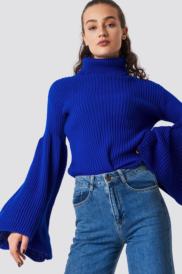Wide Sleeve Roll-Neck Jumper Blue