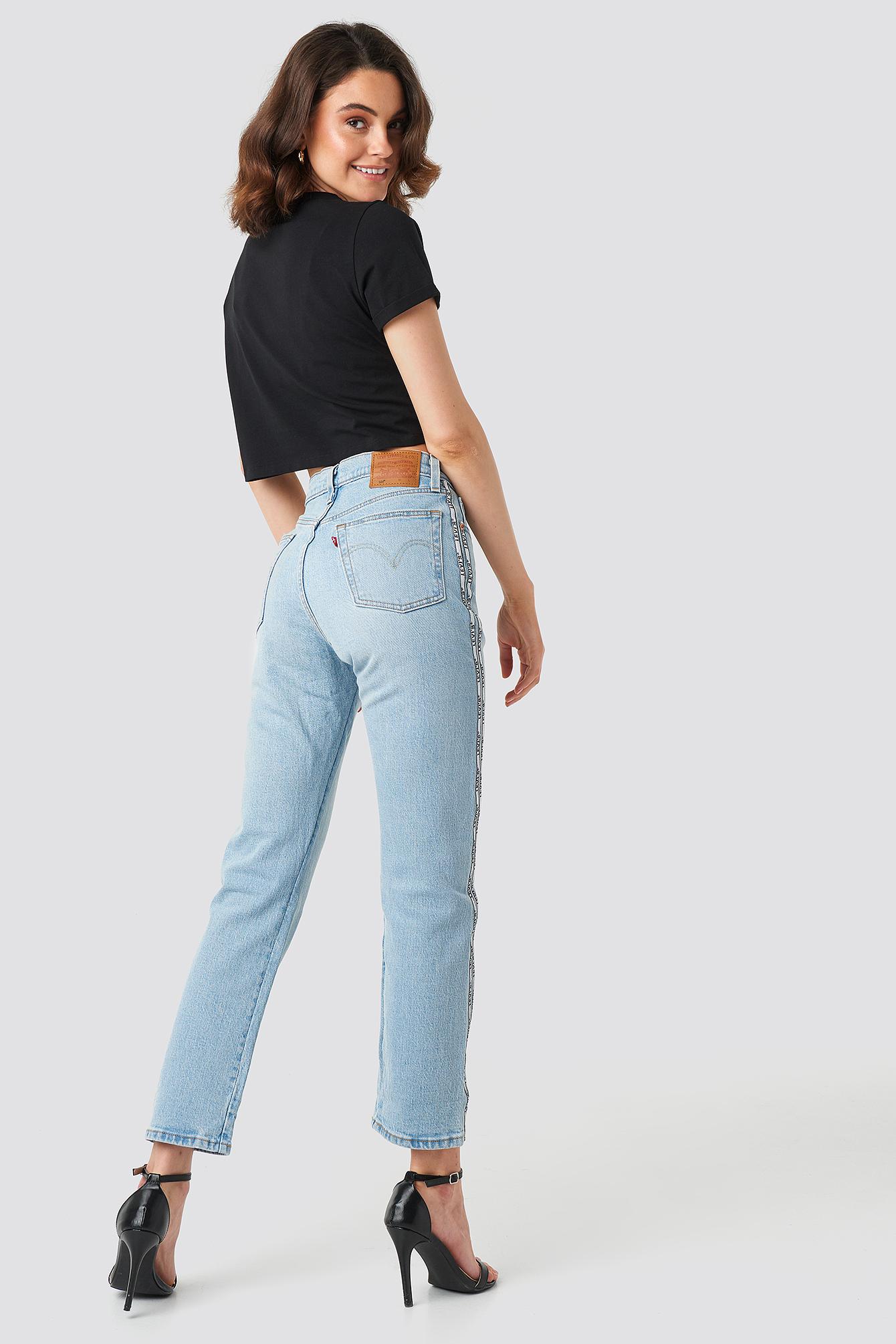 Levi's 501 Crop Jeans Blue In Dibs W/ Tape