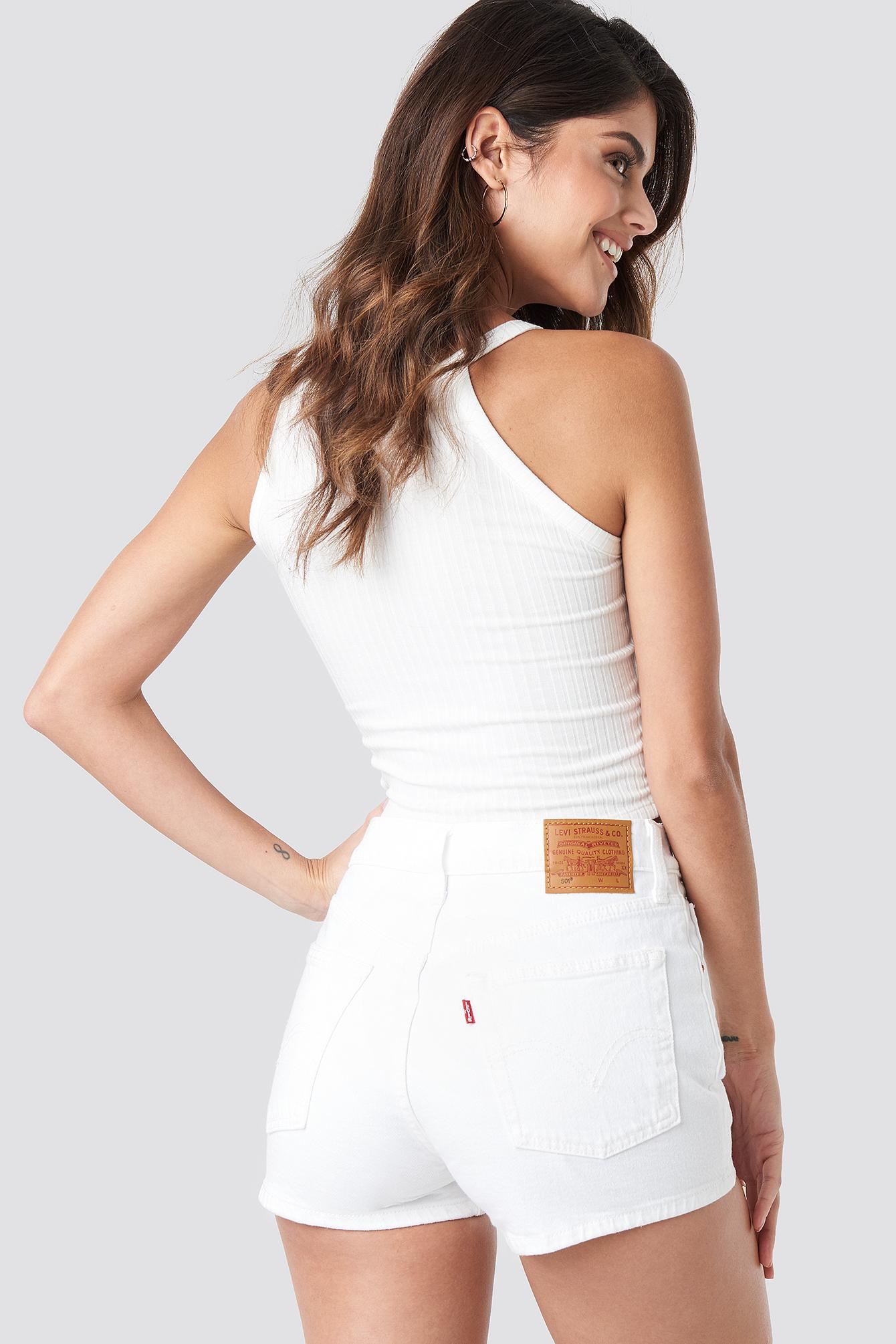 levi's -  501 High Rise Shorts - White