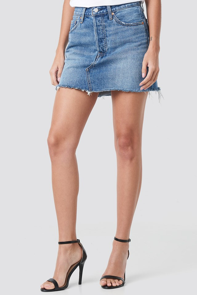 Deconstructed Skirt Med Indigo - Worn In