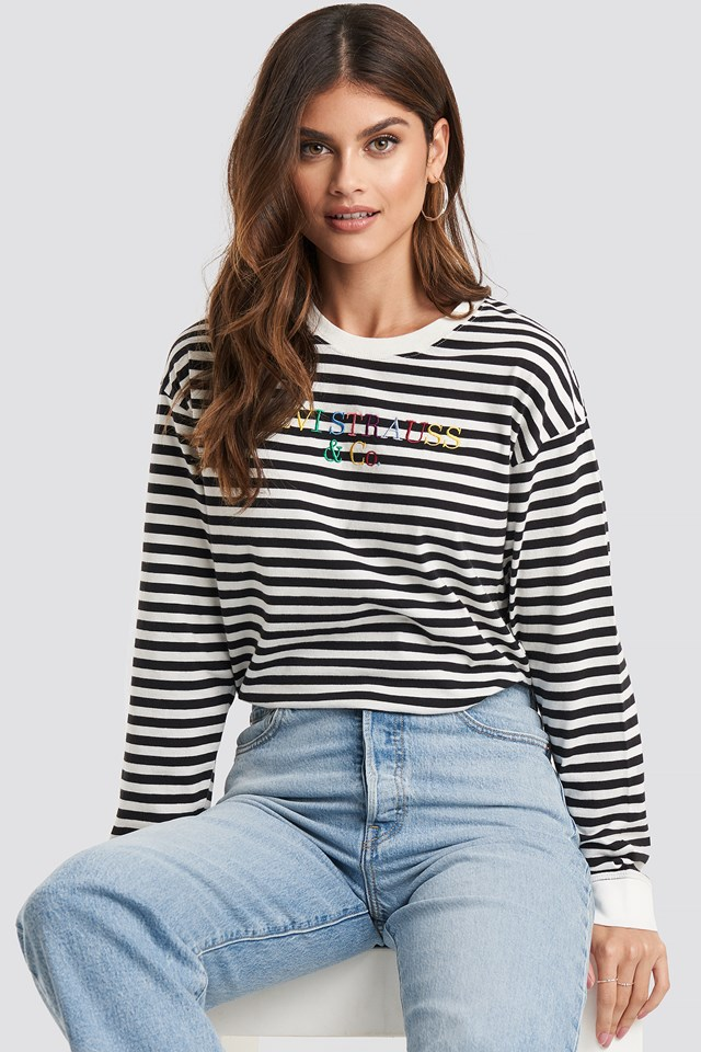 Graphic Long Sleeve Tee Striped