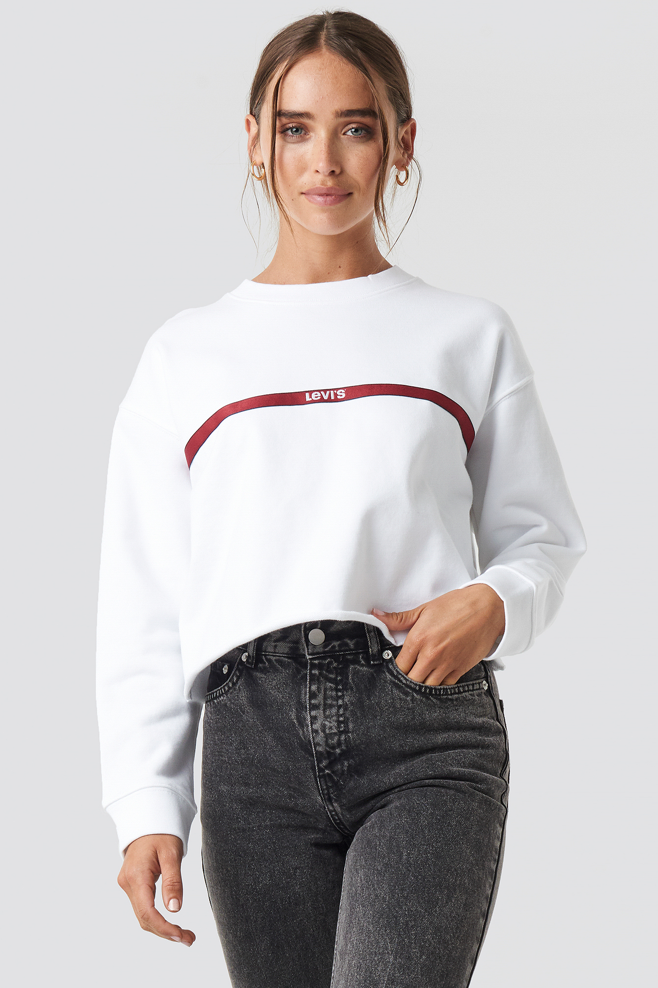 levi's -  Graphic Raw Cut Sweatshirt - White