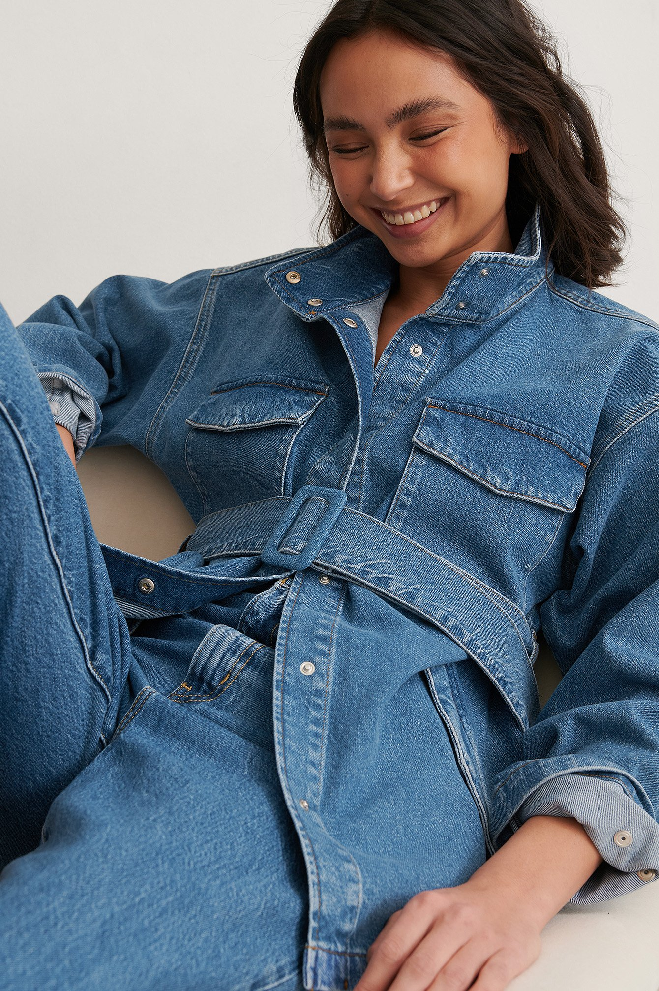 Mid Blue Organic Belted Oversized Denim Jacket