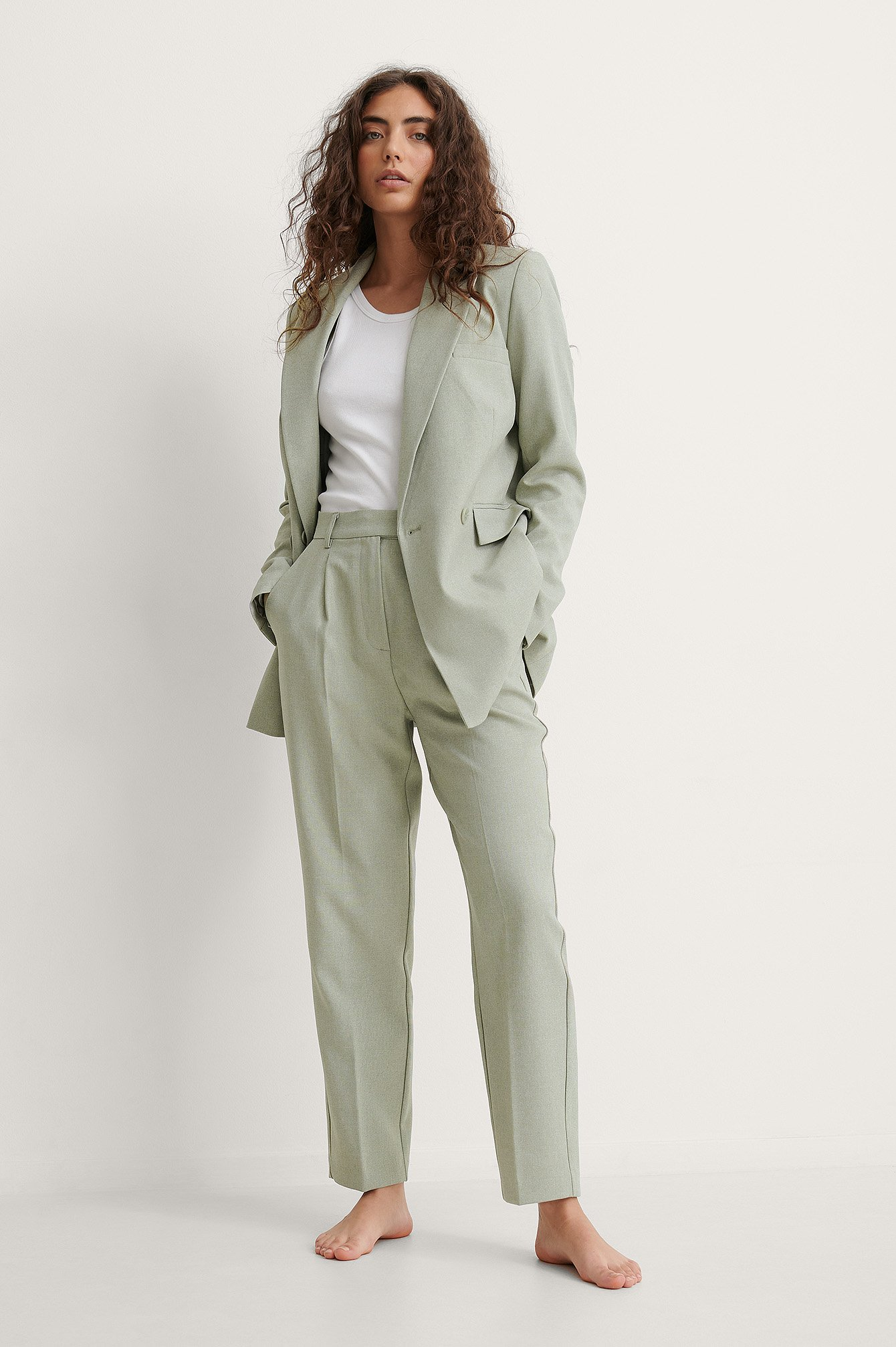 Green Recycled Cropped Suit Pants