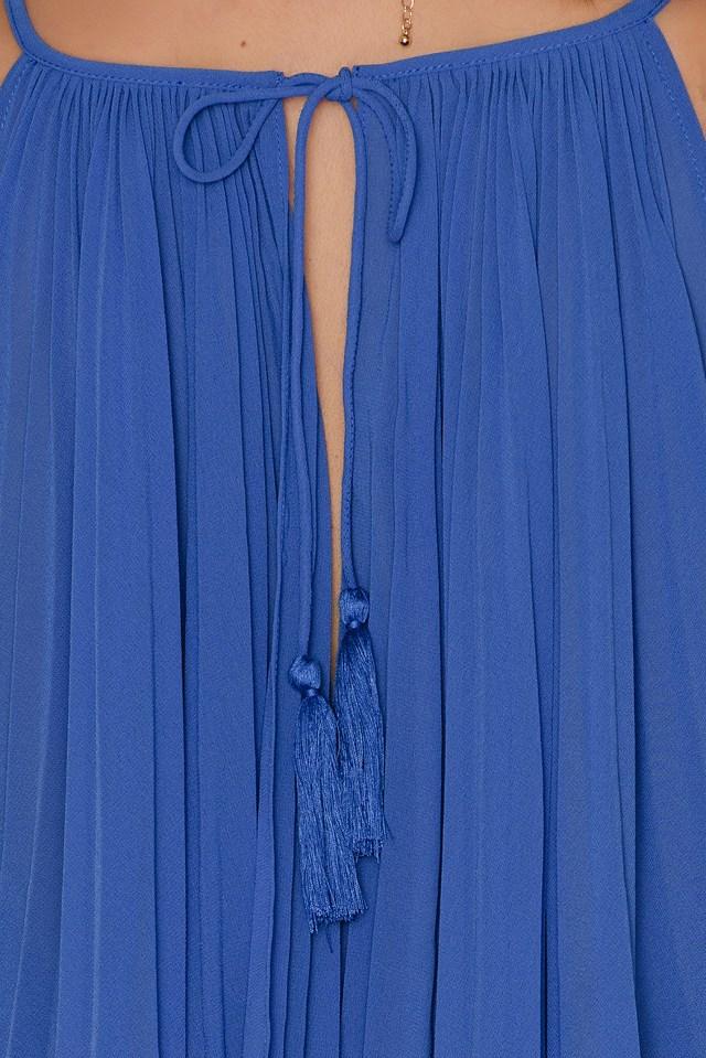 Amelie Pleat Dress Azure Blue