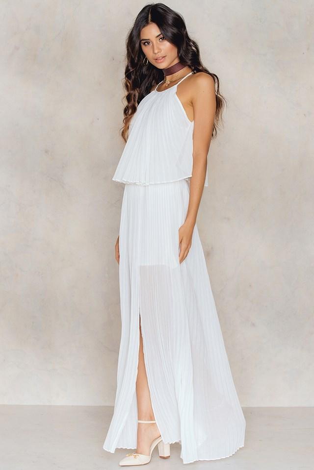 Amelie Pleat Dress White