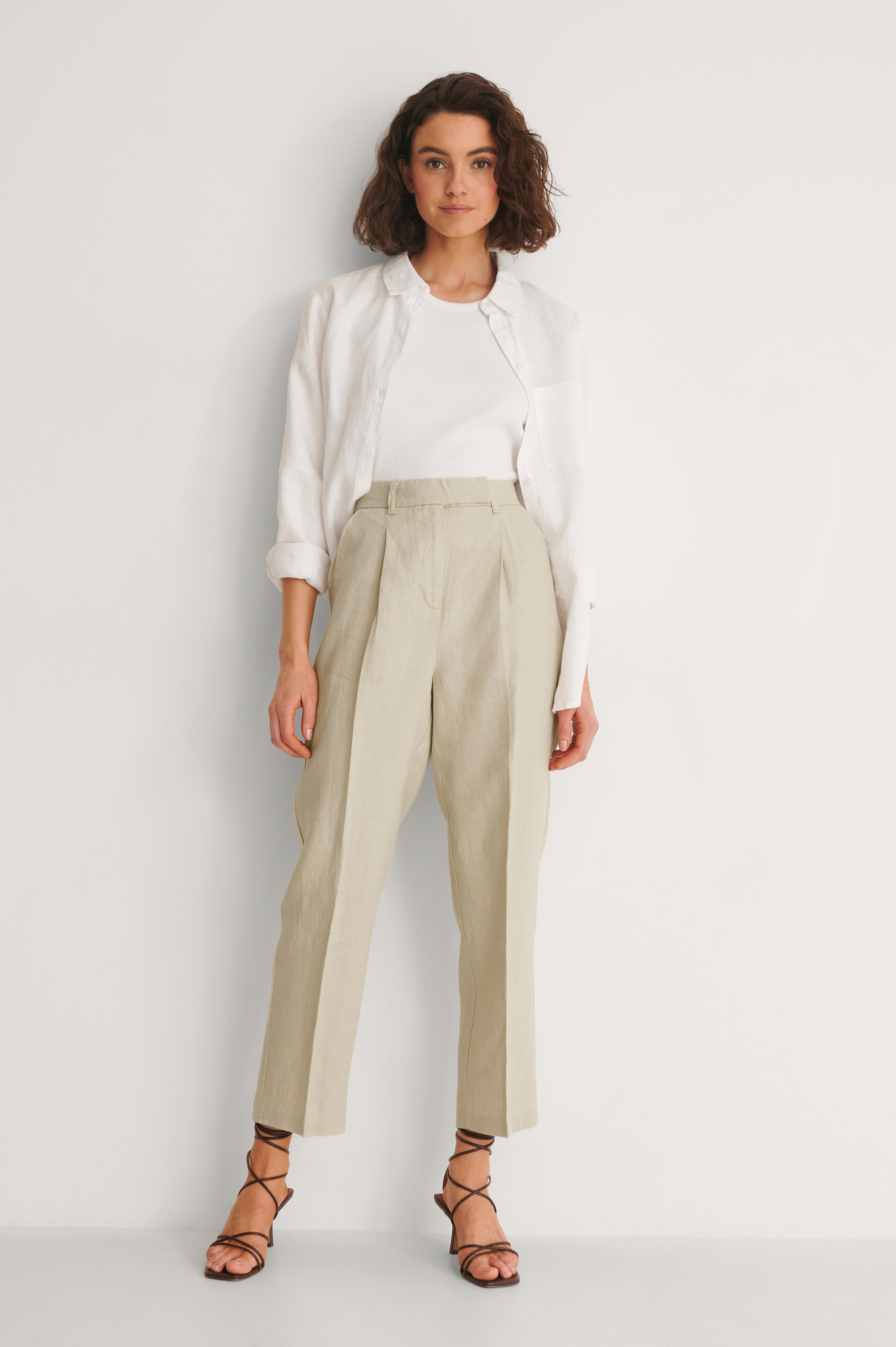 Beige Linen Cropped Pants