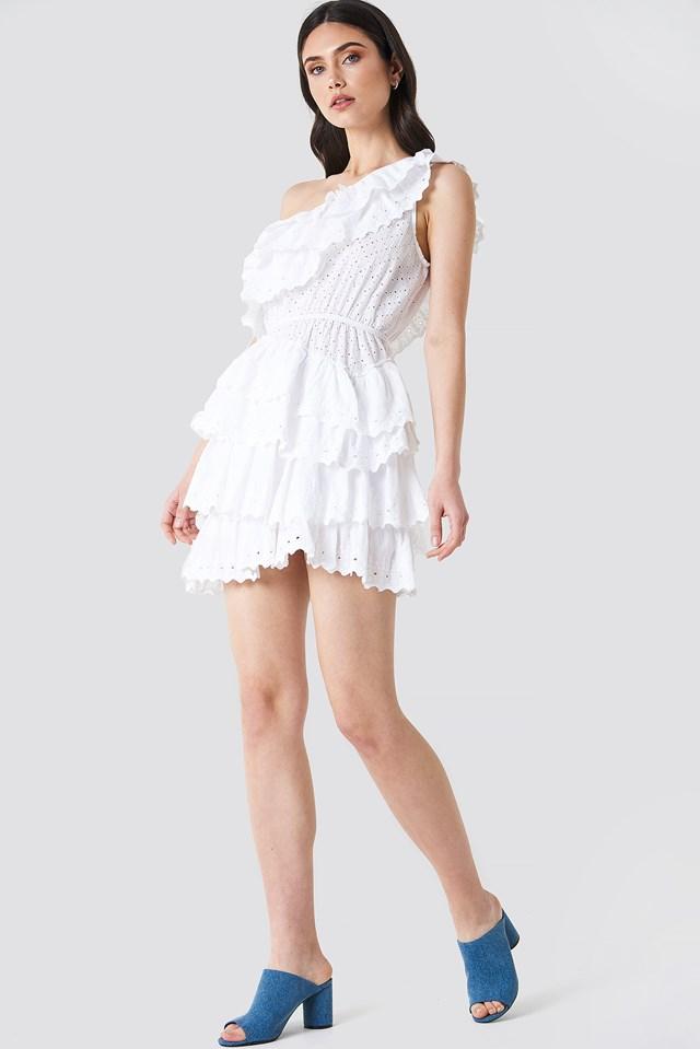 All Over Flounce Dress White
