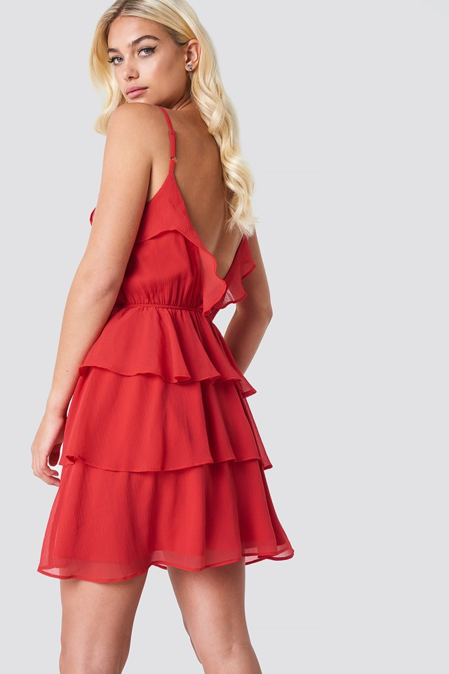 Deep Back Layer Frill Dress Red
