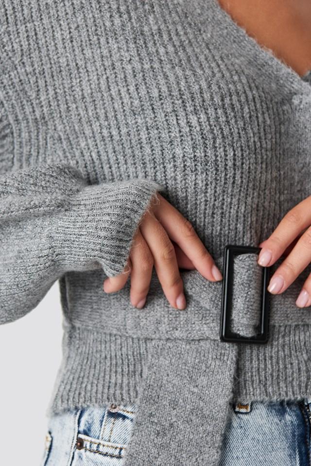 Belted Cardigan Grey