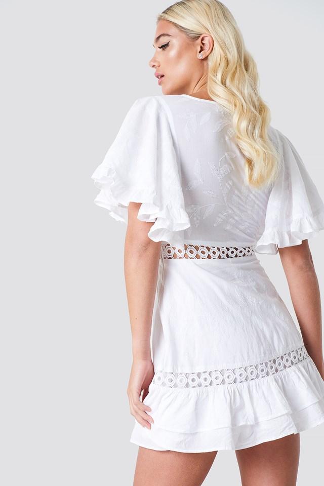 Butterfly Sleeve Dress White