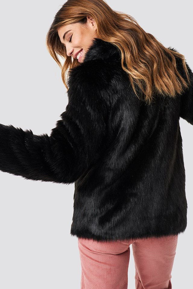 Classic Faux Fur Jacket Black