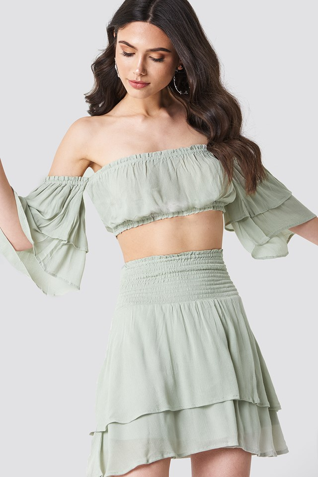 Crepe Layer Skirt Dusty Green