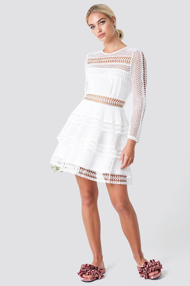 Crochet Dot Dress White