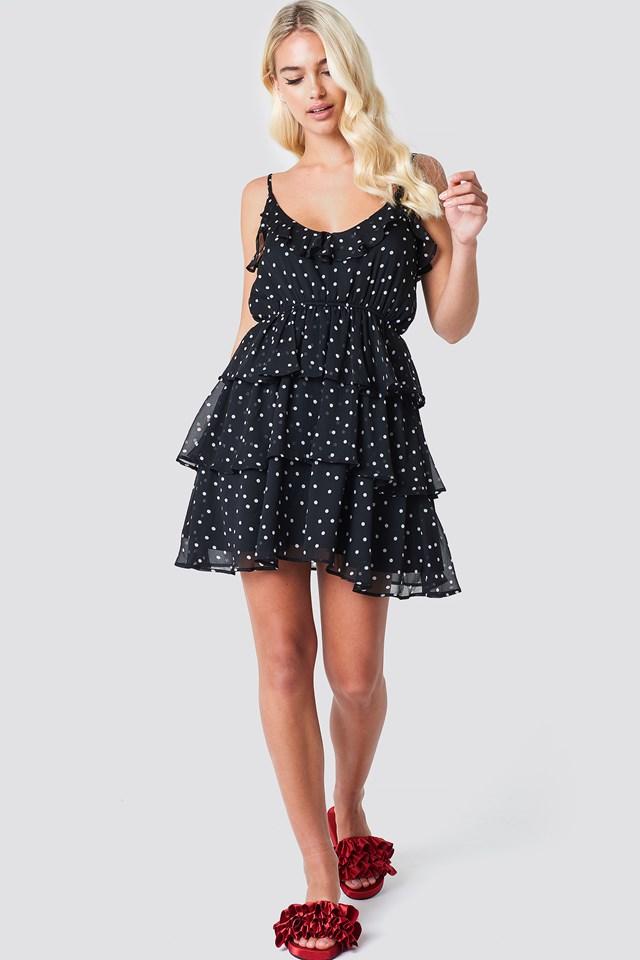 Deep Back Layer Frill Dress Black/White dots
