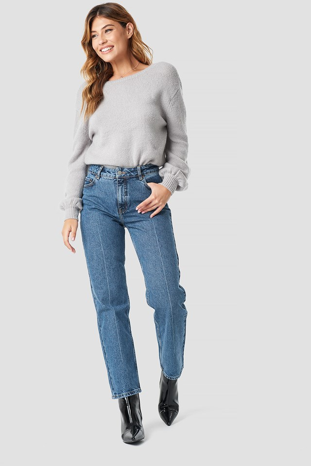 Deep Back Wrap Sweater Grey
