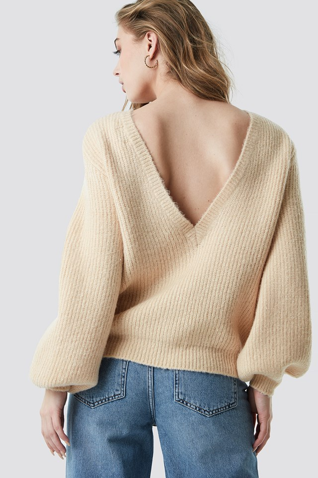 Deep V Back Sweater Beige