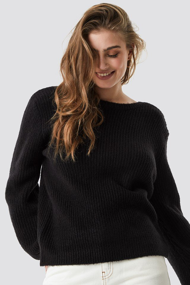 Deep V Back Sweater Black