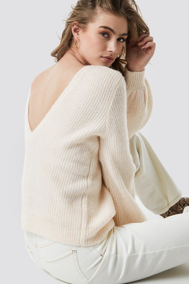 Deep V Back Sweater White