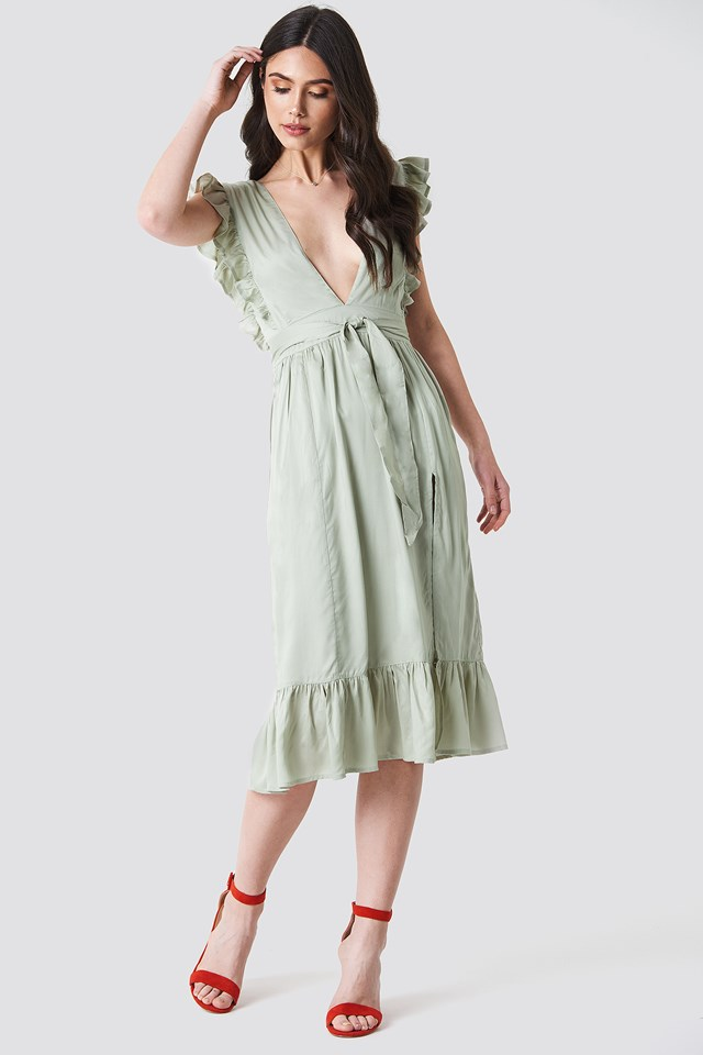 Deep V Frill Sleeve Dress NA-KD.COM