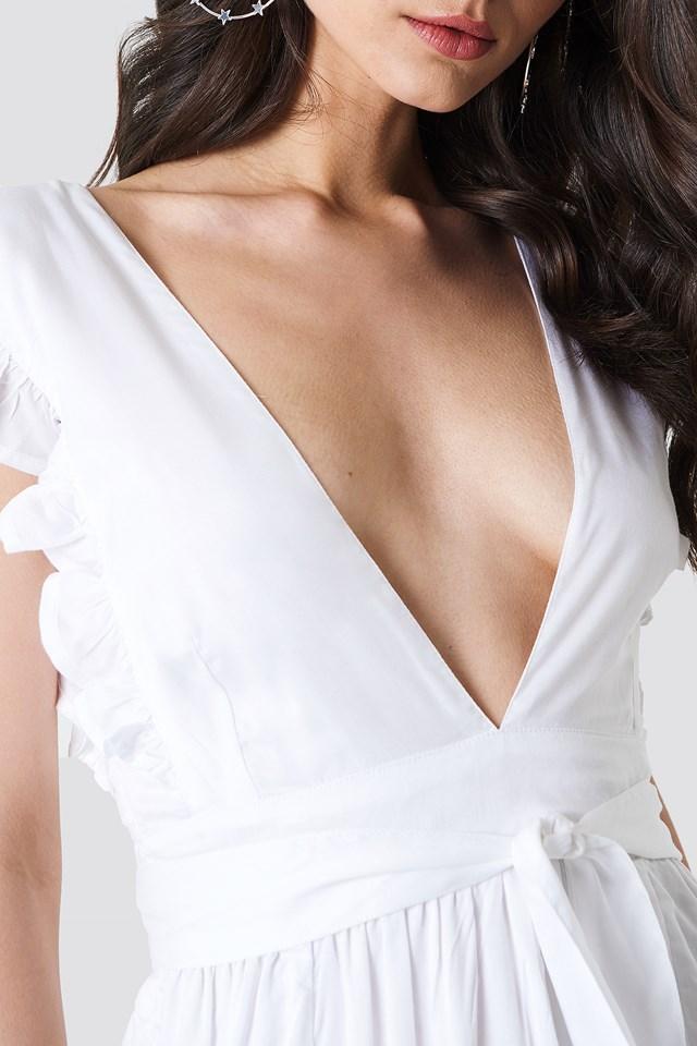 Deep V Frill Sleeve Dress White